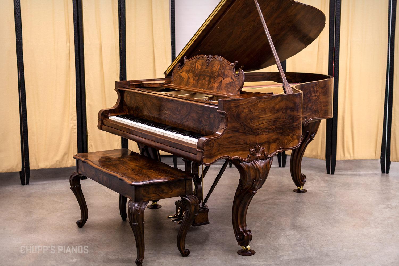 C. Kurtzmann & Co. Louis XV Style Art Case Small Grand Piano in Circassian Walnut - Fully Restored Piano